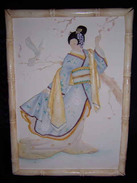 Bas relief Japanese lady